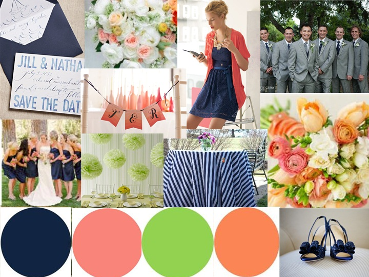 Navy and coral with peach and light green accents : PANTONE WEDDING ...