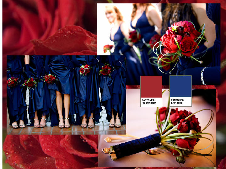 RED RIBBONS/SAPPHIRE BRIDESMAIDS : PANTONE WEDDING Styleboard | The ...