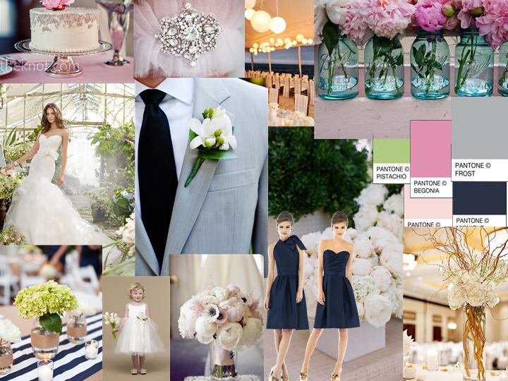 Navy, Pink, Gray wedding : PANTONE WEDDING Styleboard | The Dessy Group