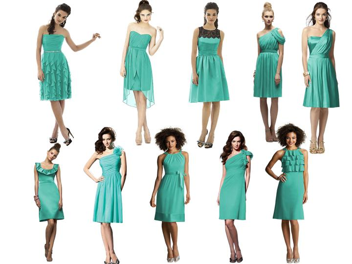 Turquoise Bridesmaid Dress Options Pantone Wedding Styleboard