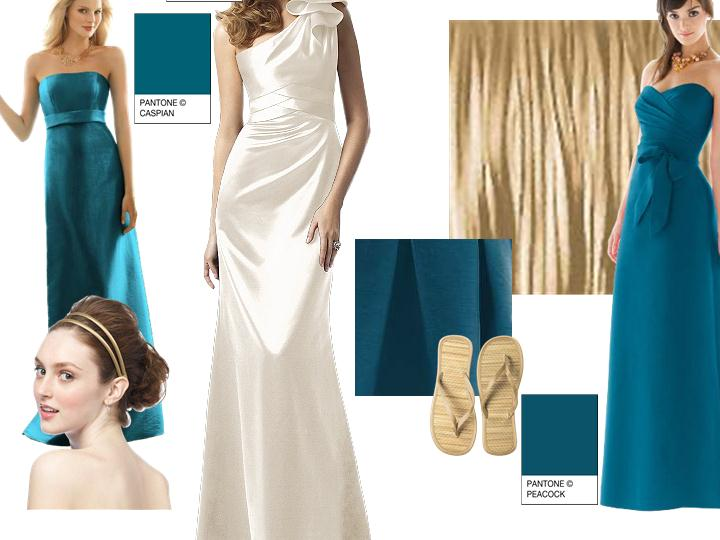 Teal Gold and Ivory : PANTONE WEDDING Styleboard | The Dessy Group