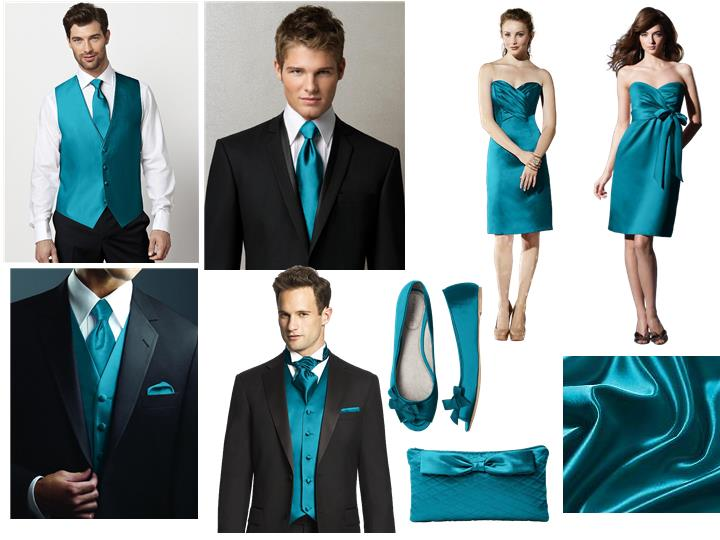 Oasis Bridesmaid Dress Vest and Tie : PANTONE WEDDING Styleboard ...