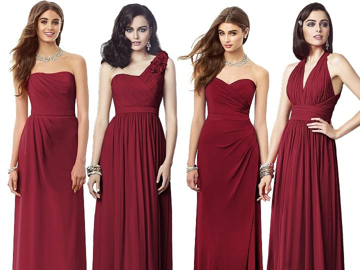 Claret colored bridesmaid dress