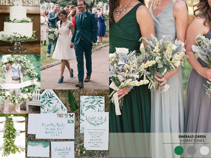 Emerald green and grey : PANTONE WEDDING Styleboard | The Dessy Group